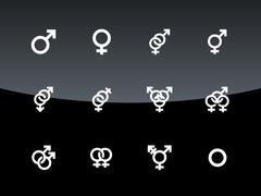 Gender symbol on black background. Stock Illustration
