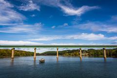 Bridge over the passagassawakeag river in belfast, maine. Stock Photos
