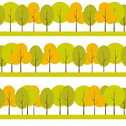 Different Trees Natural Seamless Pattern Background Vector Illus - stock illustration