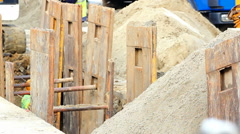 Construction of foundations Stock Footage