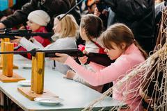 Unrecognizable Belarusian secondary school pupils girl shooting Stock Photos