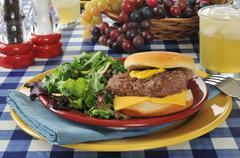 Cheeseburger with salad Stock Photos