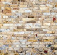 Stones at the wall of qutub minar tower, the tallest brick minaret in the wor Stock Photos