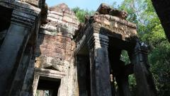 Stone structures in Angkor Thom temple complex in Siem Reap, Cambodia Stock Footage
