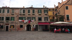 Venice Italy neighborhood square cafe 4K 014 Stock Footage