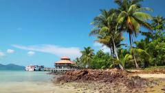 Beautiful view of the pier with ships on Koh Wai island in Thailand Stock Footage