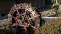 Water Wheel in Shirakawago, Japan Stock Footage