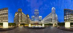 Cabot square panorama in the modern canary wharf quarter with its banks and s Stock Photos