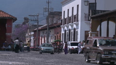 Street of a small town in Central America - Antigua Guatemala Stock Footage