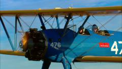 Boeing PT17 Stearman Air to Air Zoom Out Stock Footage