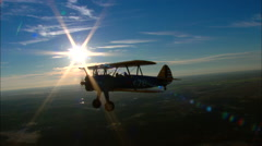Boeing PT17 Stearman Air To Air Stock Footage