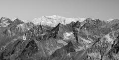 The kalkalpen behind the ötztal in the austrian alps in black and white Stock Photos