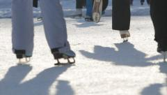 People on the ice skates Stock Footage