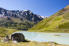 Lake rifflsee and sunna alm in the pitztal in austria with the taschachferner Stock Photos