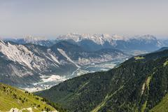 View from the pitztal to the inn valley in the austrian alps Stock Photos