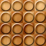 Wooden rounded abstract blocks stacked for seamless background, veneer alder Stock Illustration
