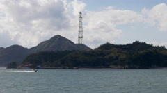 Japan's Tallest Electric Pylon on Okunoshima - stock footage