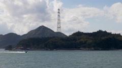 Japan's Tallest Electric Pylon on Okunoshima Stock Footage