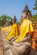 aligned statues of buddha - stock photo