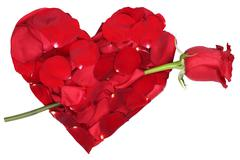 heart from petals with red rose love topic on valentine's and mothers day - stock photo