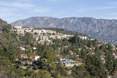 southern california hillside homes - stock photo