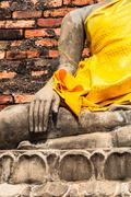 hand of buddha at wat yai chaimongkol temple ayutthaya was the old capital of - stock photo