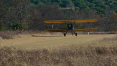 Boeing PT 17 Stearman Take Off Grass Strip Stock Footage