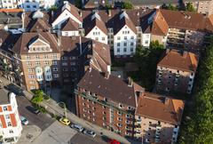 high angle view of a residential district in hamburg, germany - stock photo
