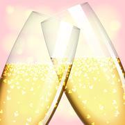 glasses of champagne - stock illustration