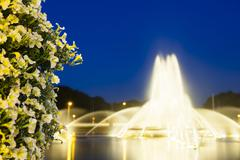 The famous europaplatz fountain in aachen, germany at night with focus on a b Stock Photos