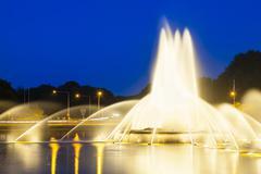 The famous europaplatz fountain in aachen, germany at night Stock Photos