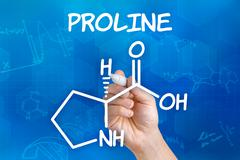 hand with pen drawing the chemical formula of proline - stock illustration