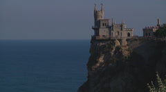 Wide Shot of ferry at Swallow's Nest (Gaspra) in Crimea, Ukraine. - stock footage