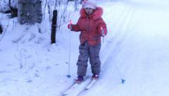 Little girl skiing, winter Stock Footage