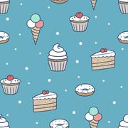 seamless confection pattern - stock illustration