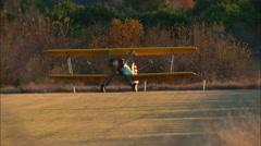Boeing PT 17 Stearman Sunset Take Off Stock Footage
