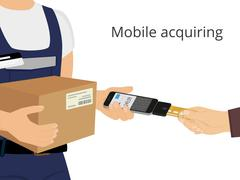 Mobile acquiring - stock illustration