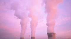 Nuclear Power Station At Sunset Timelapse Stock Footage
