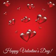 Red background with glass hearts - stock illustration