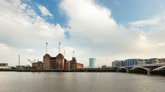 Battersea Power Station Time Lapse, Zooming In Stock Footage
