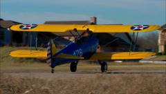 Boeing PT 17 Stearman Taxi Out Stock Footage