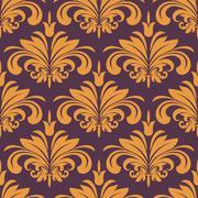 orange flourish seamless background - stock illustration