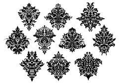 Black ornate floral motifs in damask style Stock Illustration