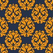 seamless damask floral tracery - stock illustration