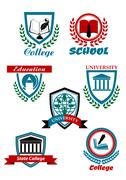 heraldic symbols for university and college education design - stock illustration