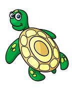 Cartoon green sea turtle character Piirros