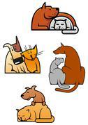 Cartoon friending cat and dog pets Stock Illustration