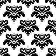 Seamless black and white flourish pattern Stock Illustration