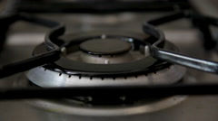 Fire Burning in Gas Stove Stock Footage