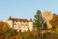 Medieval European Castle in Autumn Stock Photos